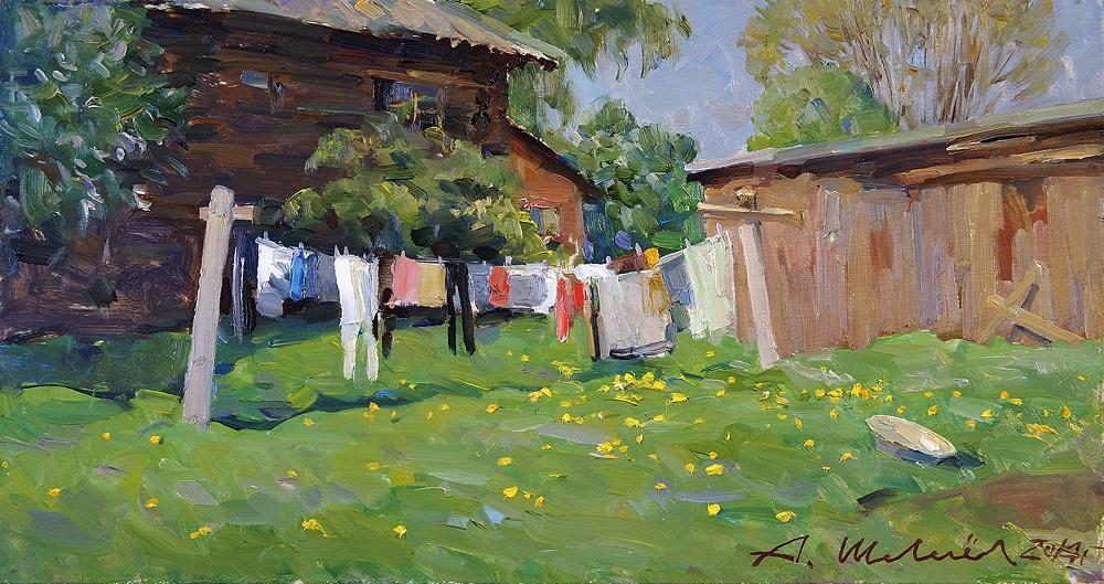 Alexander Victorovich Shevelyov. Noon. D. V. P., oil 22 x 42 cm 2014