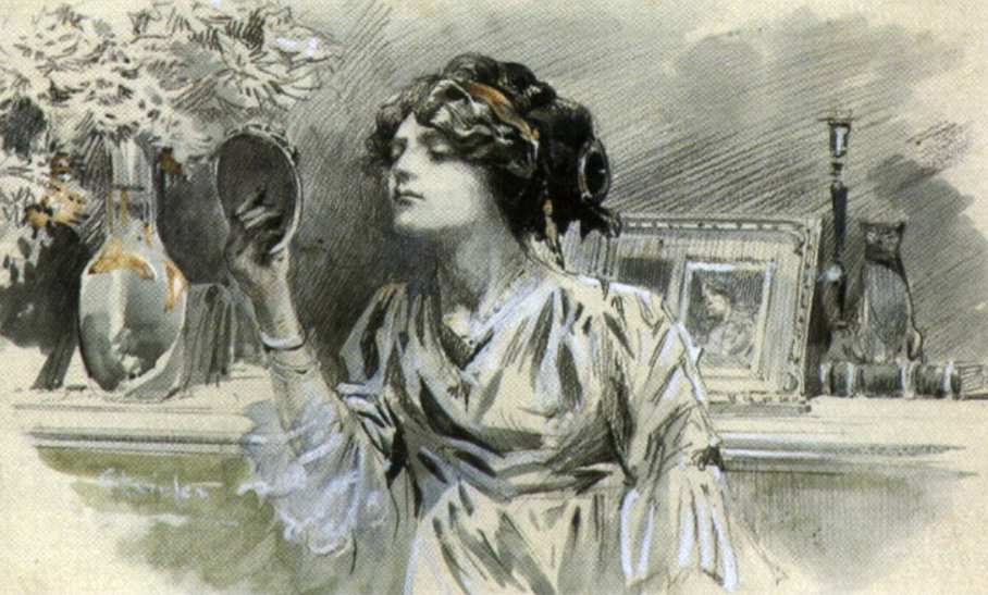 Theophile-Alexander Steinlen. Beauty before a mirror
