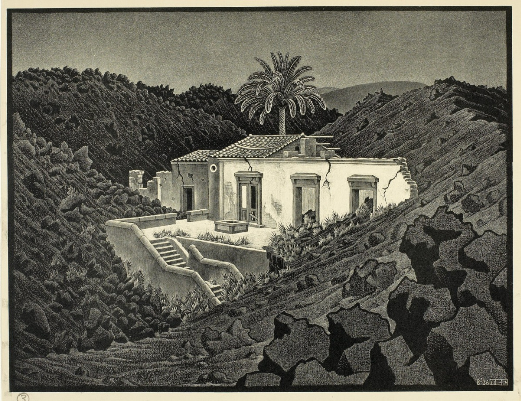 Maurits Cornelis Escher. House in Lava near Nunziata, Sicily