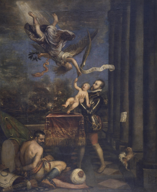 Тициан Вечеллио. Подношение Филиппа II (Филипп II показывает ангелу сына - инфанта Фернандо)