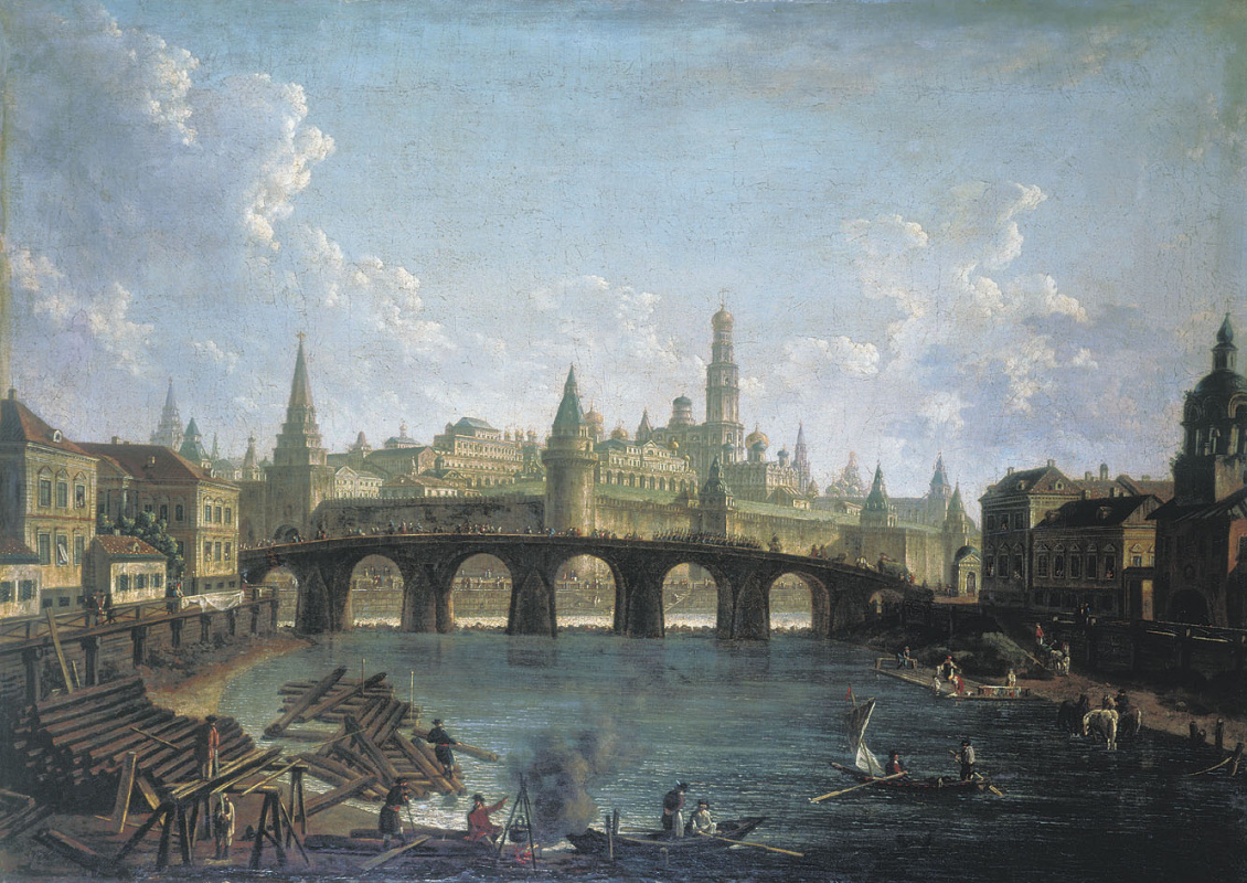 Fedor Yakovlevich Alekseev. View of the Moscow Kremlin from the Stone bridge.