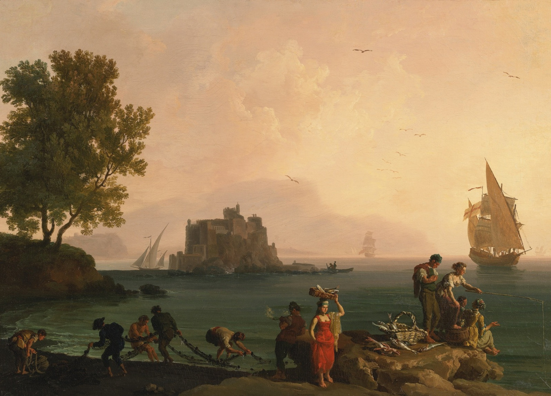 Pierre-Jacques Woller. Coastal landscape near Naples.1780