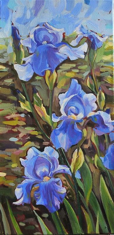 Julia Zhukovskaya. Three blue irises