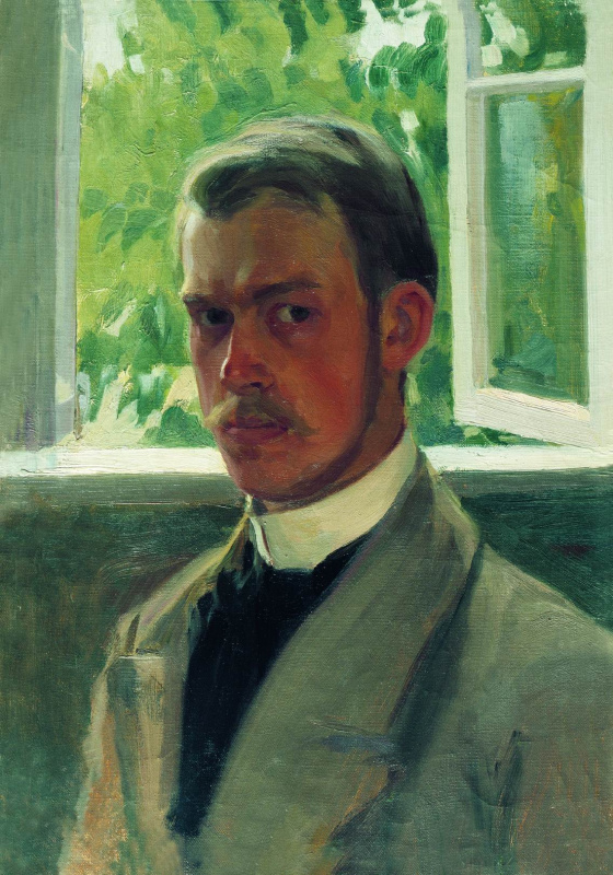 Boris Mikhailovich Kustodiev. Self portrait at the window