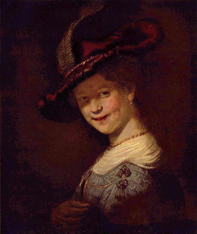 Рембрандт Харменс ван Рейн. Портрет молодой смеющейся женщины, возможно, Саскии ван Эйленбург