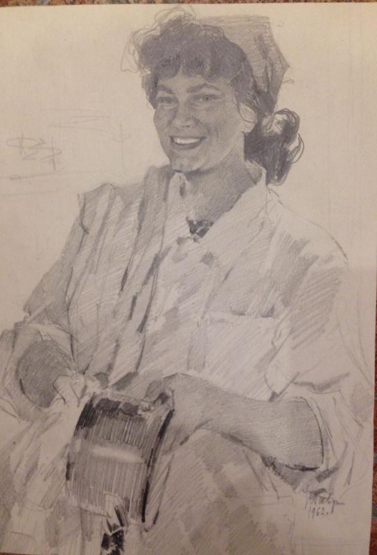 "Нина Ивановна Гаврилова. ""Кок с танкера ""Дунайский"",1962г., (бумага, карандаш), 33,5х23,5"
