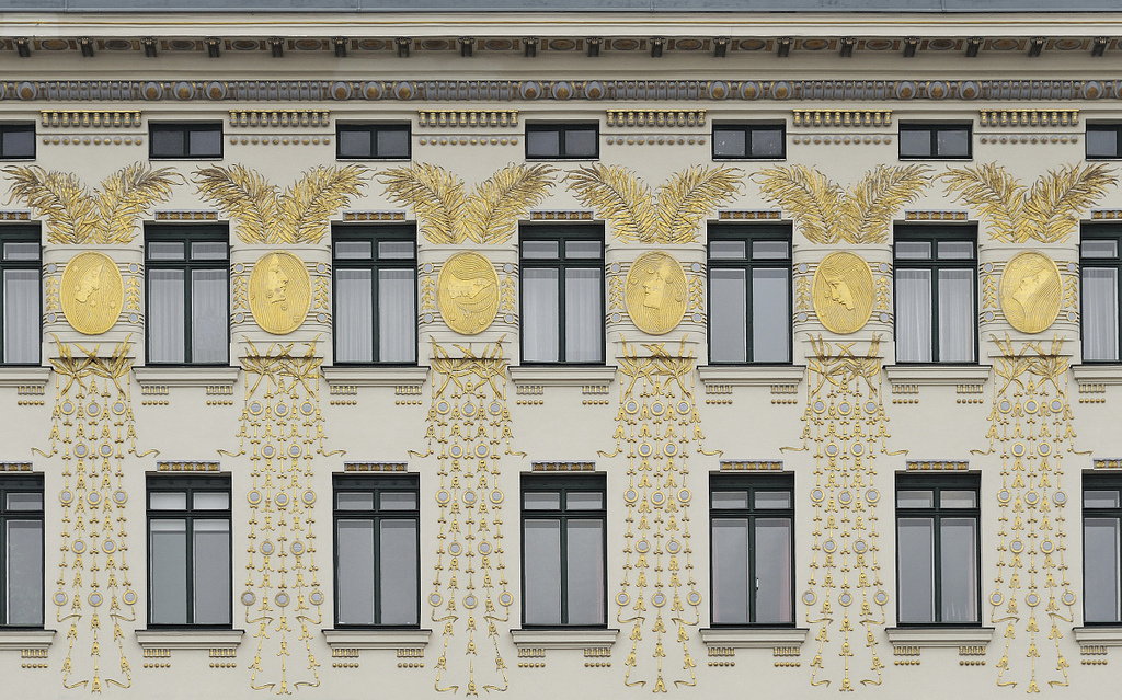 Koloman Moser. Golden medallions, facade, apartment building at Linke Wienzeile 38