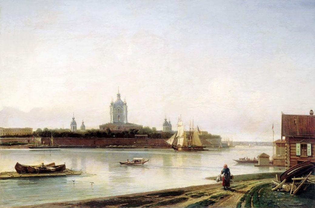 Алексей Петрович Боголюбов. Вид Смольного монастыря с Большой Охты