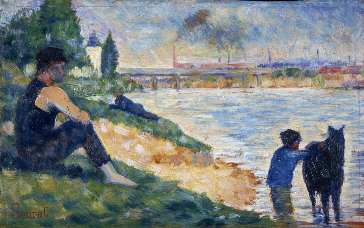 """Georges Seurat. Sketch of """"Bathing"""""""