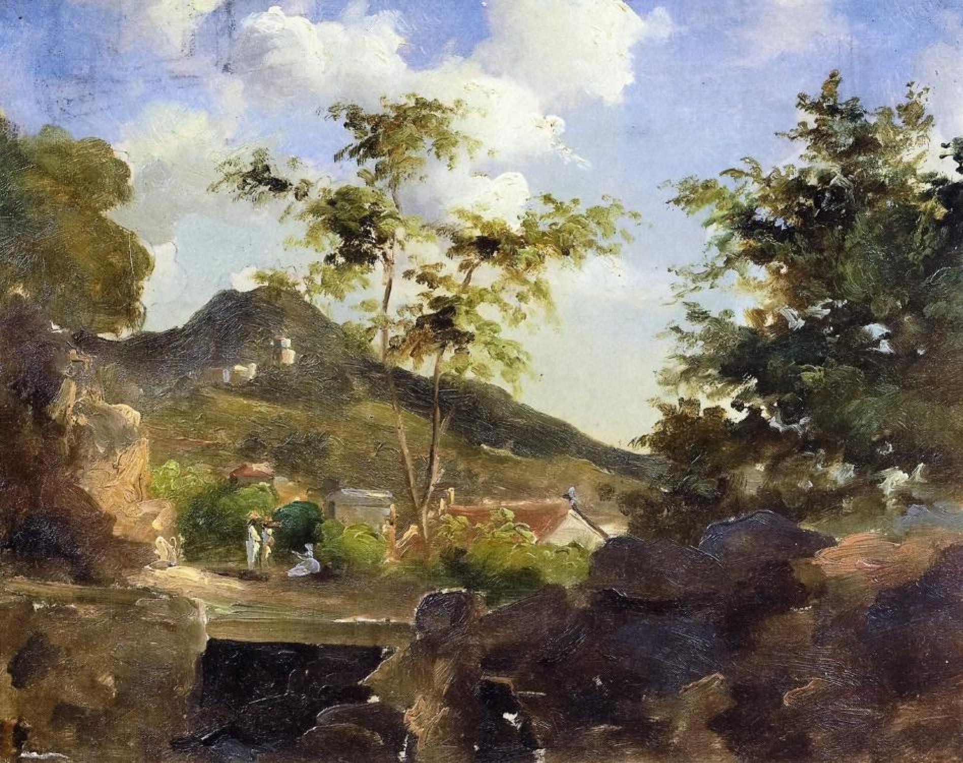 Камиль Писсарро. Деревня у подножья горы, Сент-Томас