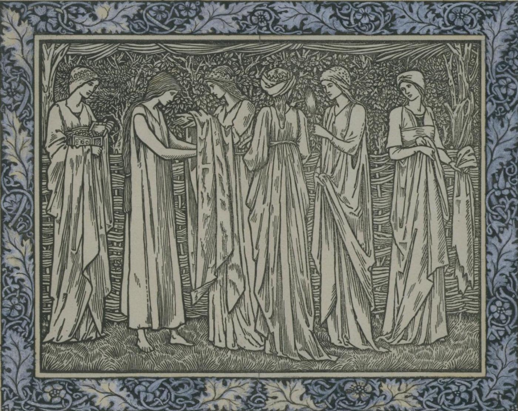William Morris.  Croquis d'illustration pour la compilation de Jeffrey Chaucer (co-auteur avec Edward Burne-Jones)