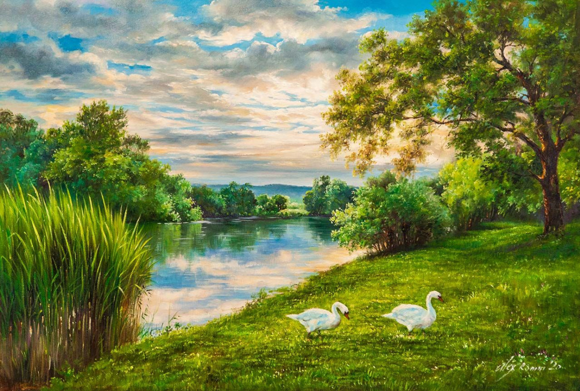 Alexander Romm. Swans on the river bank