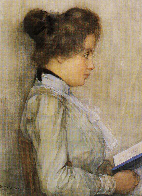 Piet Mondrian. Portrait of a woman with a book