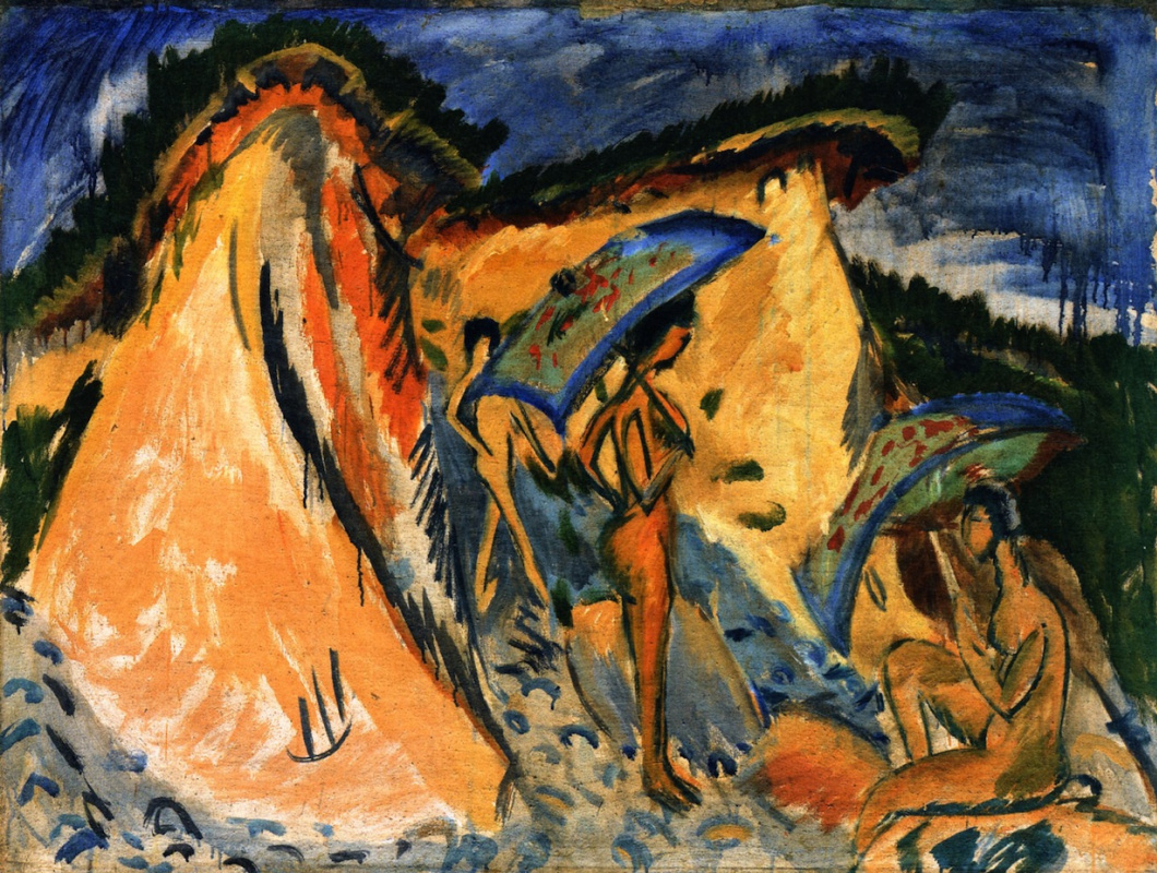 Ernst Ludwig Kirchner. Fehmarn dunes with bathers under Japanese umbrellas