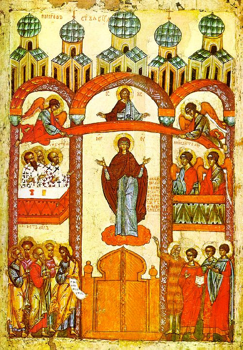 Icon Painting. Intercession Of The Theotokos