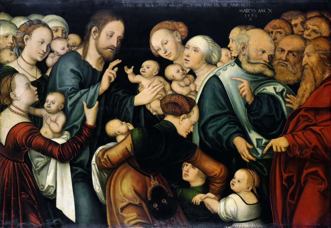 Lucas the Younger Cranach. Christ blesses the children