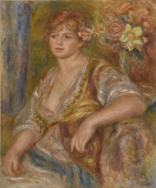 Пьер Огюст Ренуар. Блондинка с розой