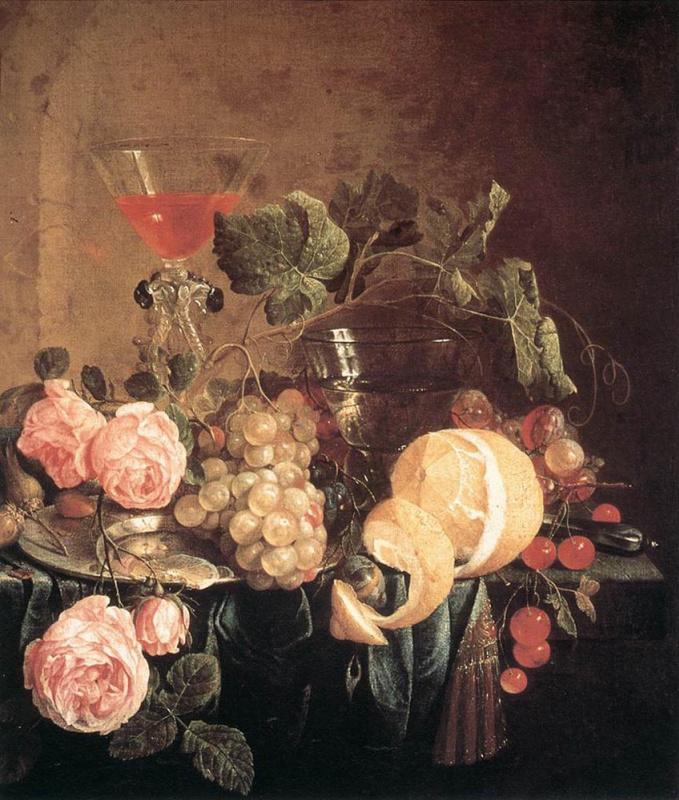 Jan Davids de Hem. Still life with flowers and fruit