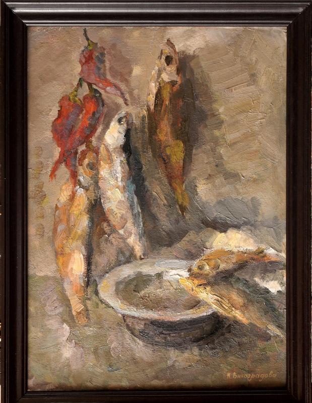 Nadezhda Alekseevna Vinogradova. Still life with fish