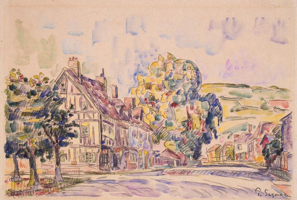Paul Signac. Street with half-timbered house in Normandy