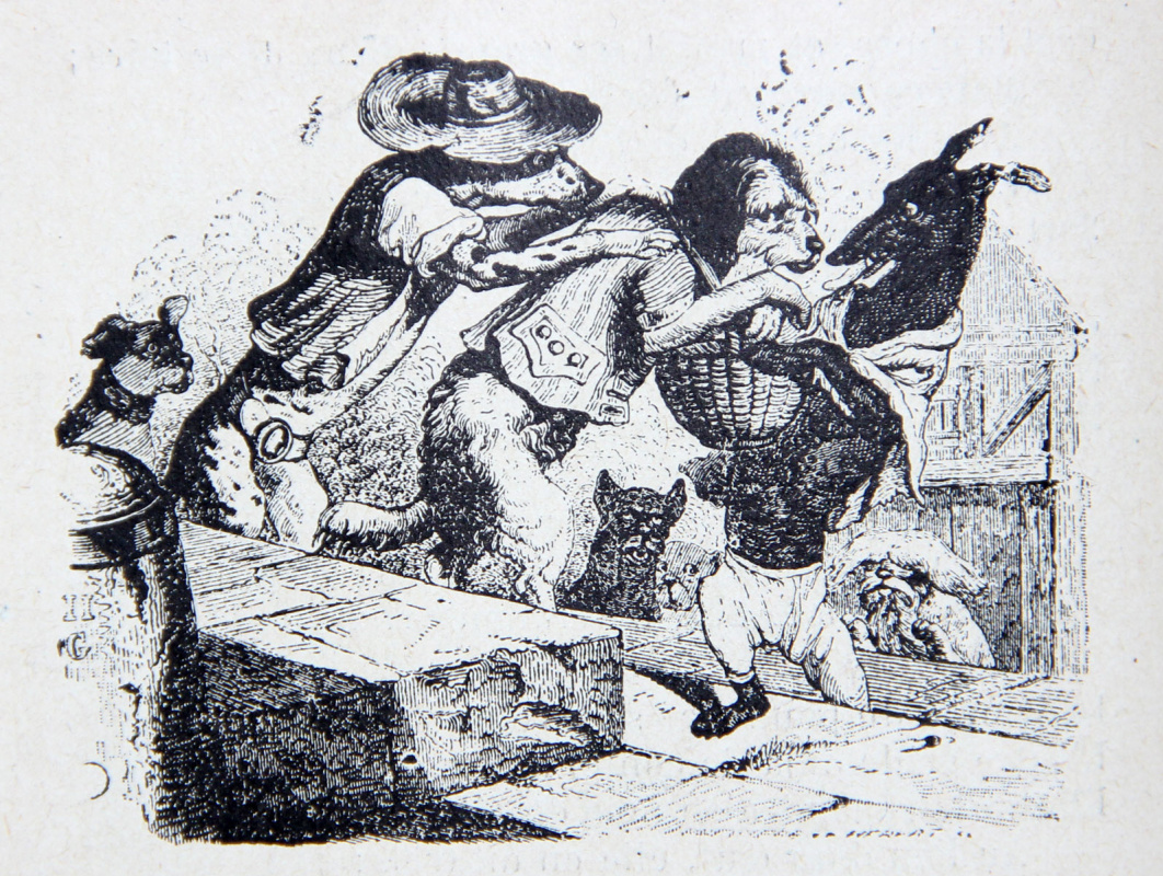 Jean Inias Isidore (Gerard) Granville. A dog carrying a dinner to the owner. Illustrations to the fables of Jean de Lafontaine