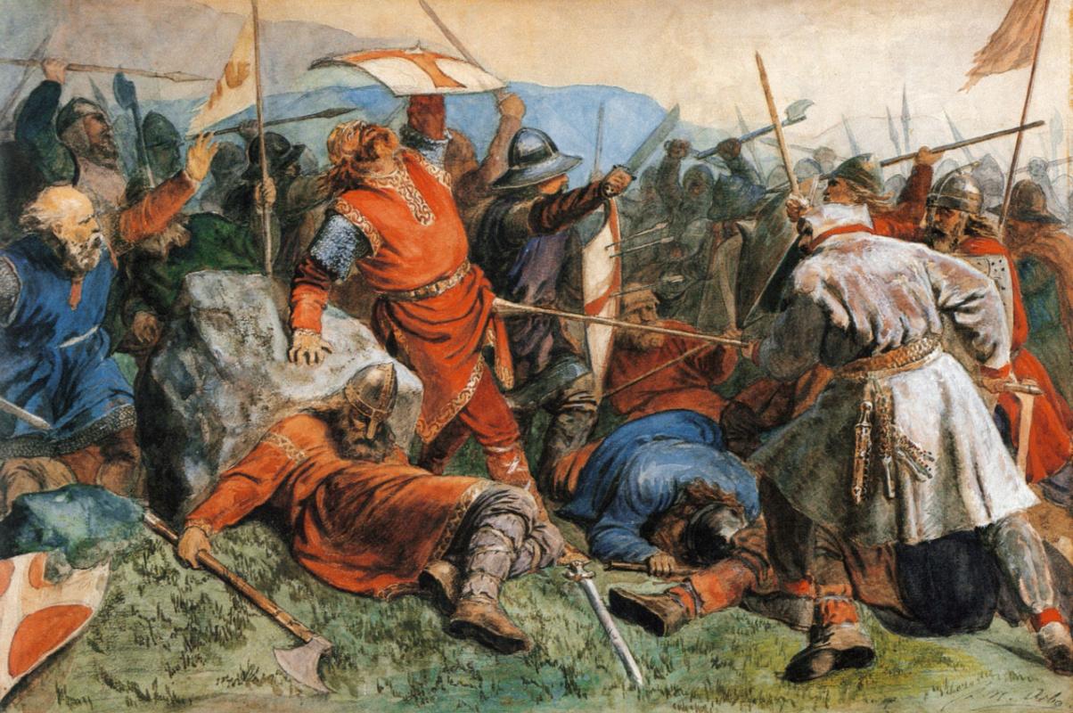 "Peter Nikolay Arbo. ""Saint Olaf at the Battle of Stiklestad"""