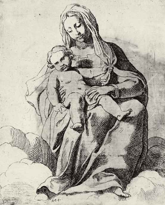 Annibale Carracci. Madonna in the clouds