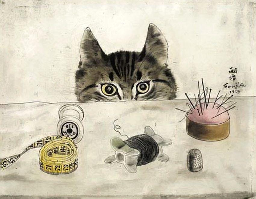 Цугухару Фудзита (Леонар Фужита). Кошка у стола