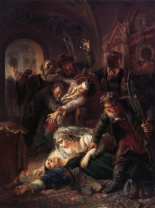 The agents of the Pretender Dmitry kill the son of Boris Godunov