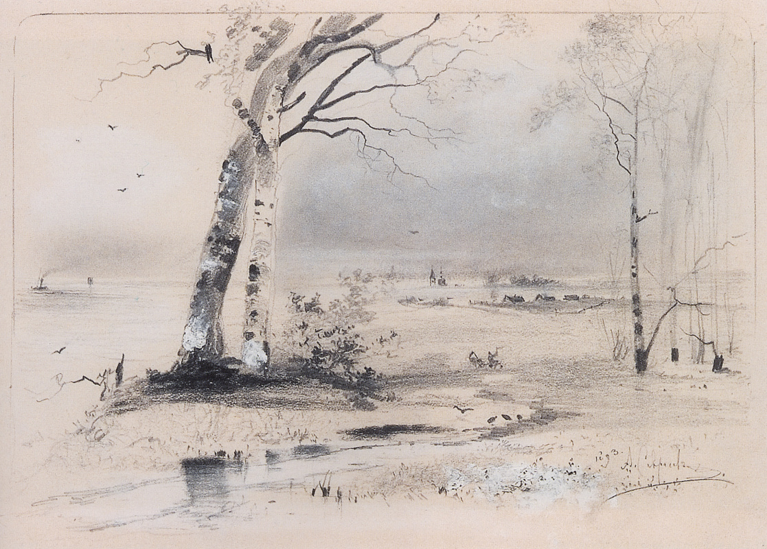 Alexey Savrasov. Early spring. Birch river