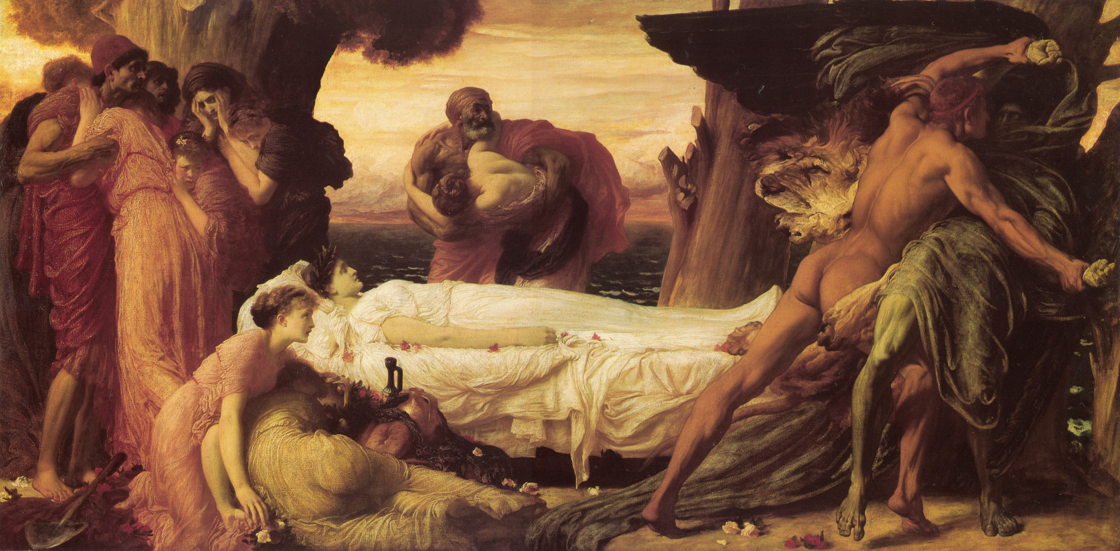 Frederic Leighton. The Fight of Hercules and Death for Alcesta's body