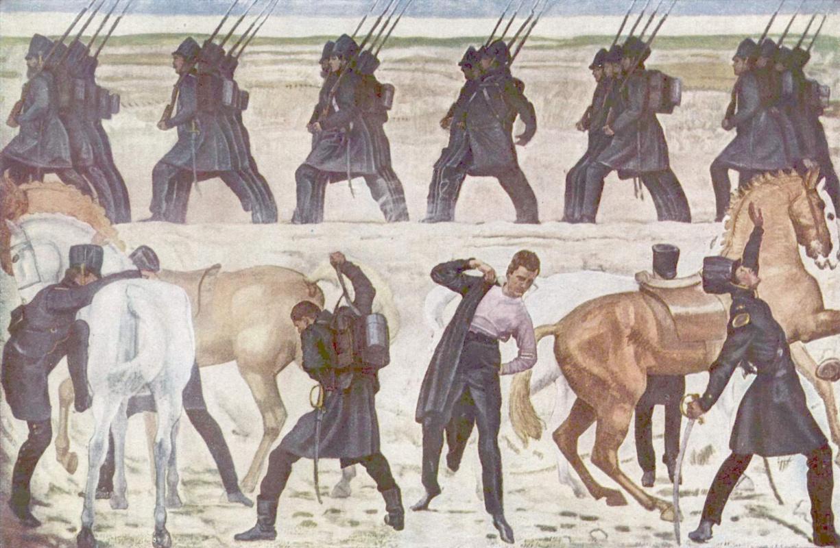 Фердинанд Ходлер. Выступление частей из йенских студентов во время освободительной войны 1813 года