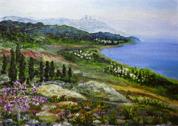 Rita Arkadievna Beckman. The view of the Mediterranean sea with the mountains of Galilee