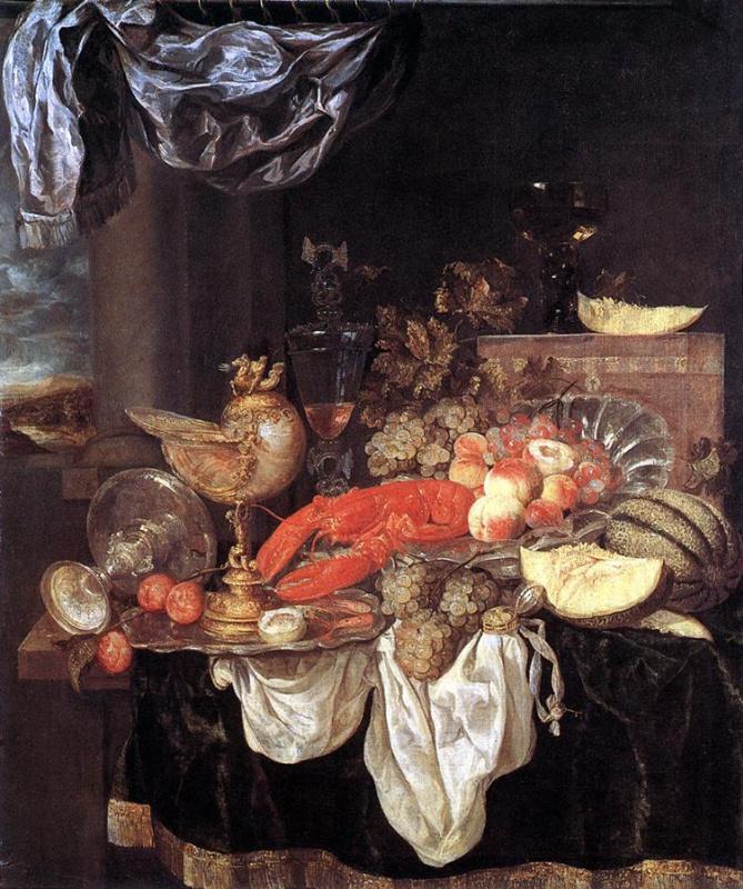 Абрахам Ван Беуерен. Натюрморт с фруктами и лобстером