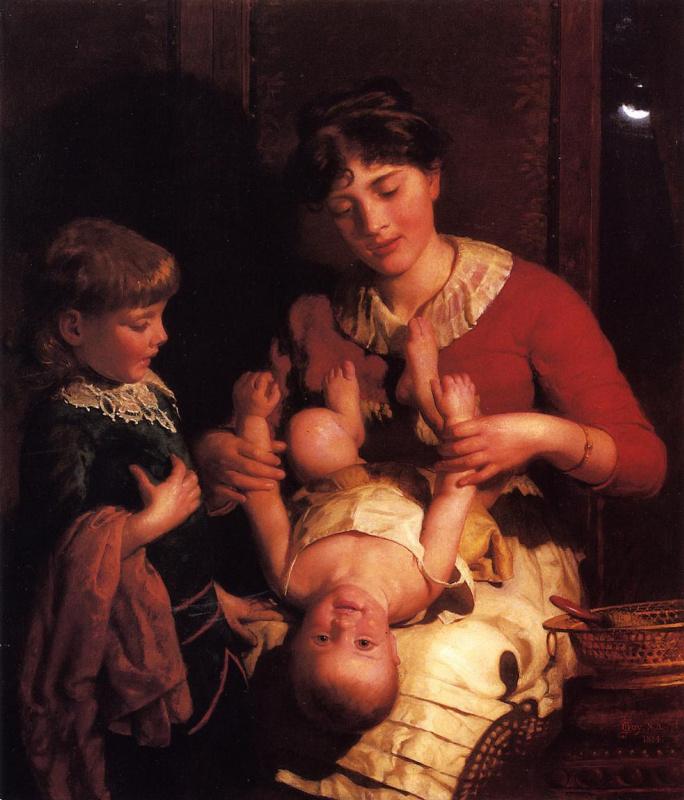 Мать играет с детьми