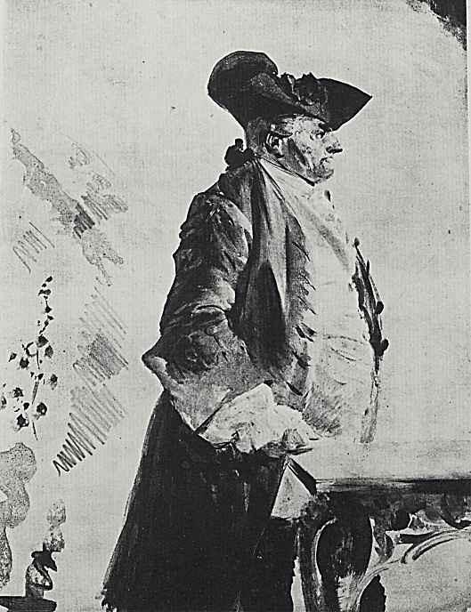 Адольф фон Менцель. Пожилой мужчина в костюме времен Фридриха II
