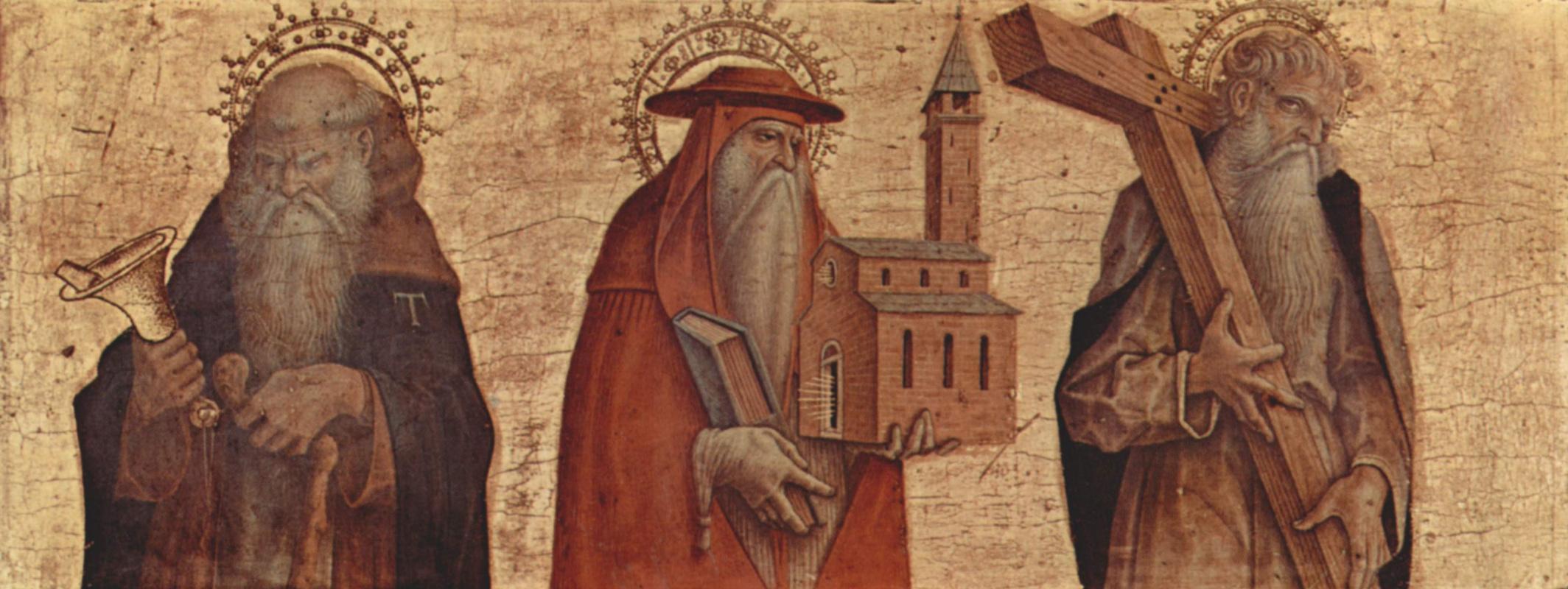 Карло Кривелли. Святой Антоний Аббат, Святой Иероним, Святой Андрей. Алтарный триптих, правая створка в основании алтаря