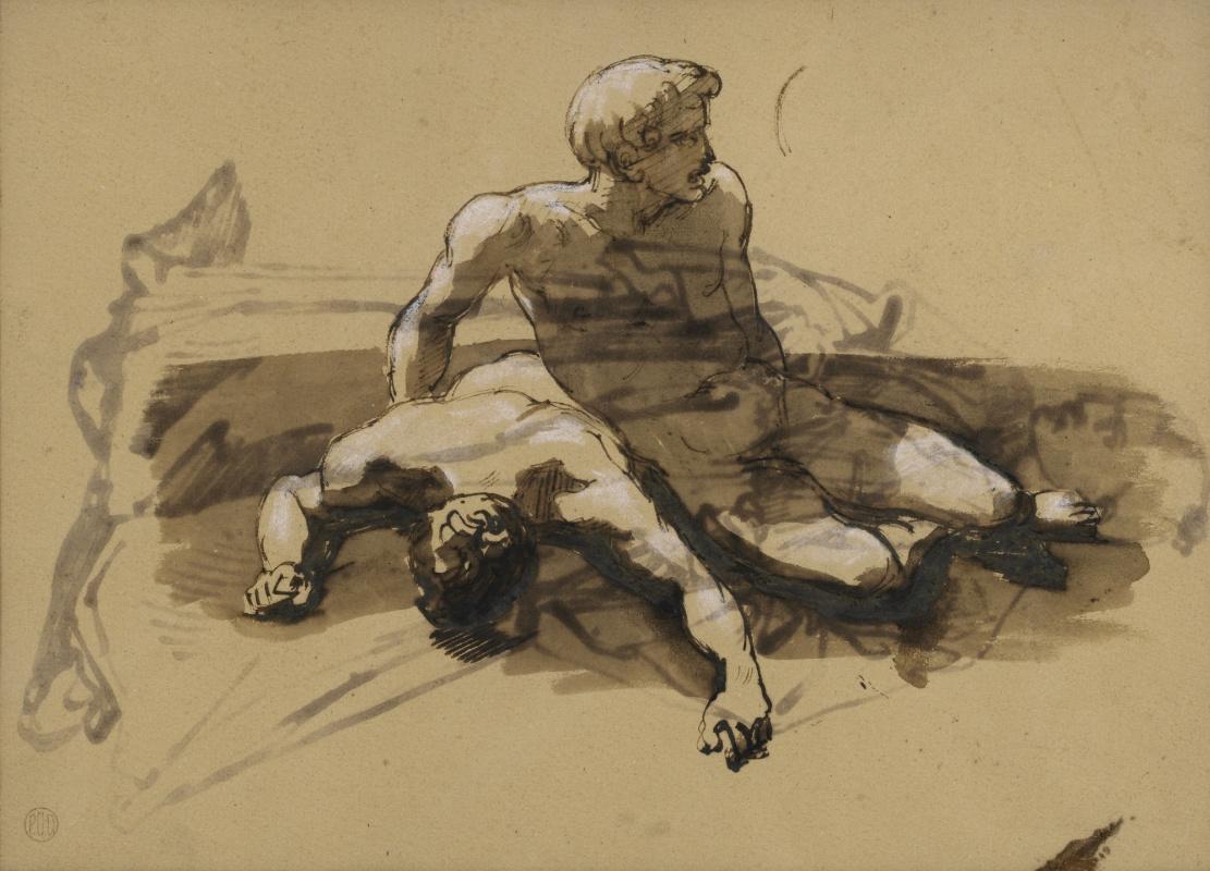 "Теодор Жерико. Двое обнаженных мужчин. Эскиз для картины ""Плот Медузы"""