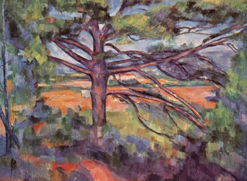 Поль Сезанн. Большая сосна на фоне красных полей