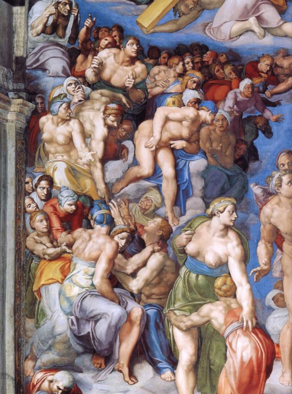 Микеланджело Буонарроти. Страшный суд. Второе кольцо персонажей