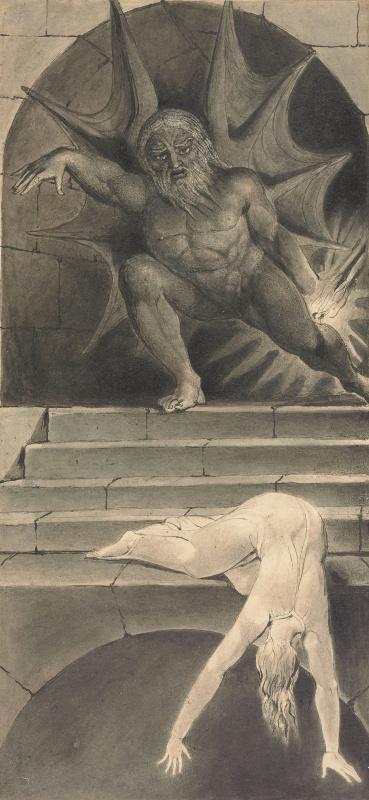 """Уильям Блейк. Смерть, преследующая душу по улице жизни. Иллюстрация к поэме Роберта Блэра """"Могила"""""""