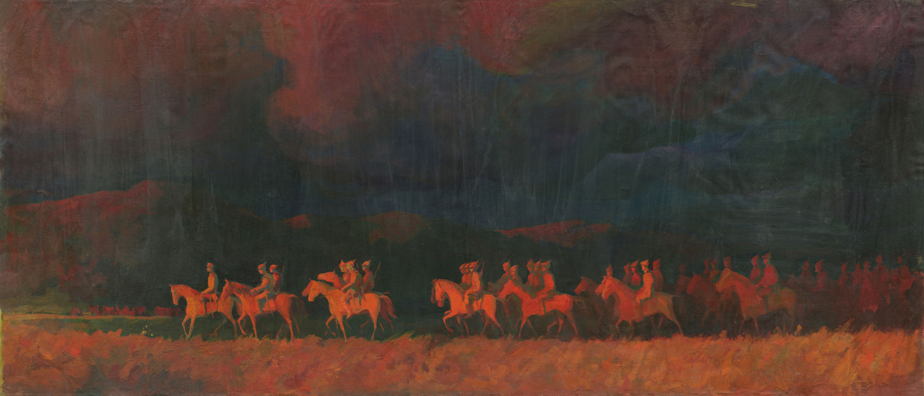 Alexandrovich Rudolf Pavlov. Riders. From a series of paintings about the history of Russia at the beginning of the 20th century.