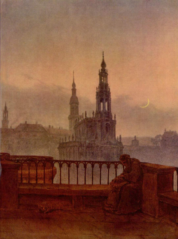 Карл Густав Карус. Вид на Дрезден с Брюльшен Террассе