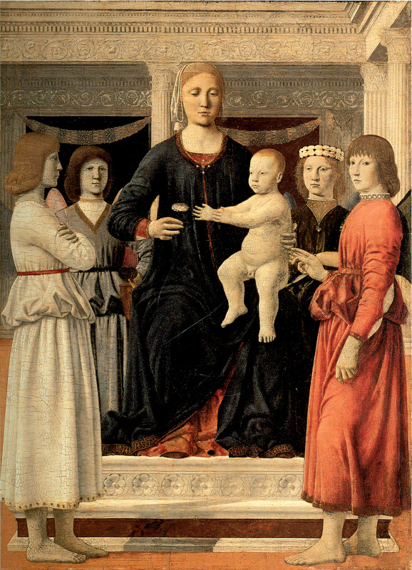 Piero della Francesca. The virgin and child enthroned, with four angels