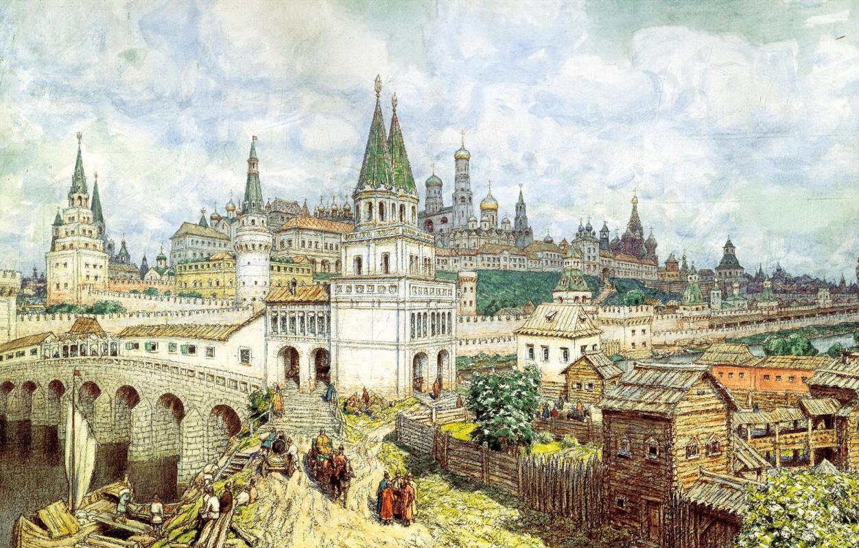 Аполлинарий Михайлович Васнецов. Расцвет Кремля. Всехсвятский мост и Кремль