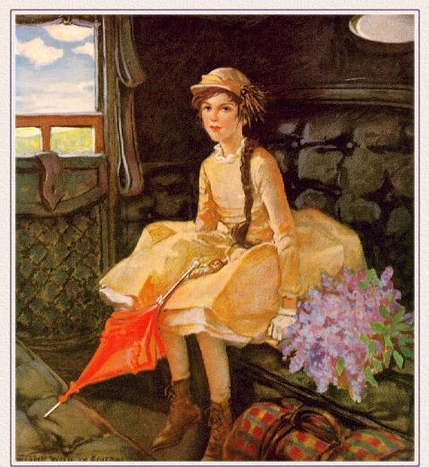Джесси Уиллкокс Смит. Девочка с сиренью и красным зонтом