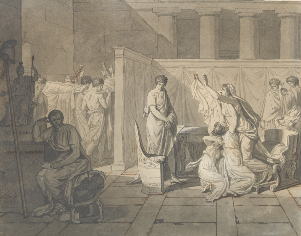 Jacques-Louis David. The lictors bring Brutus the bodies of his sons. Sketch