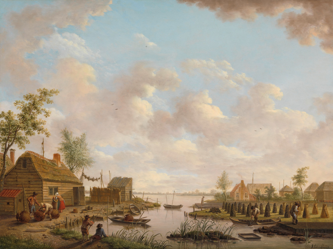 Hendrik Willem Schweikhardt. Landscape with fishermen and peasants mining peat in the swamps