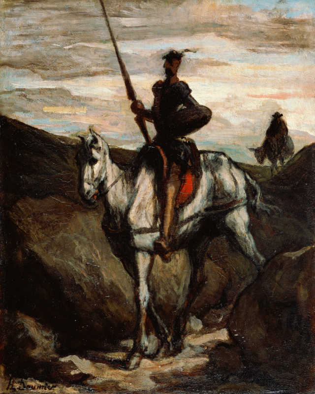 Honore Daumier. Don Quixote and Sancho Panza in the mountains