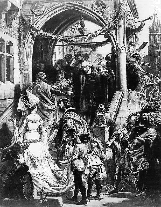 Jan Matejko. Feast in Vershinec (engraving)